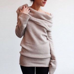 Sweaters - Slouchy Off Shoulder Foldover Knit Sweater Top